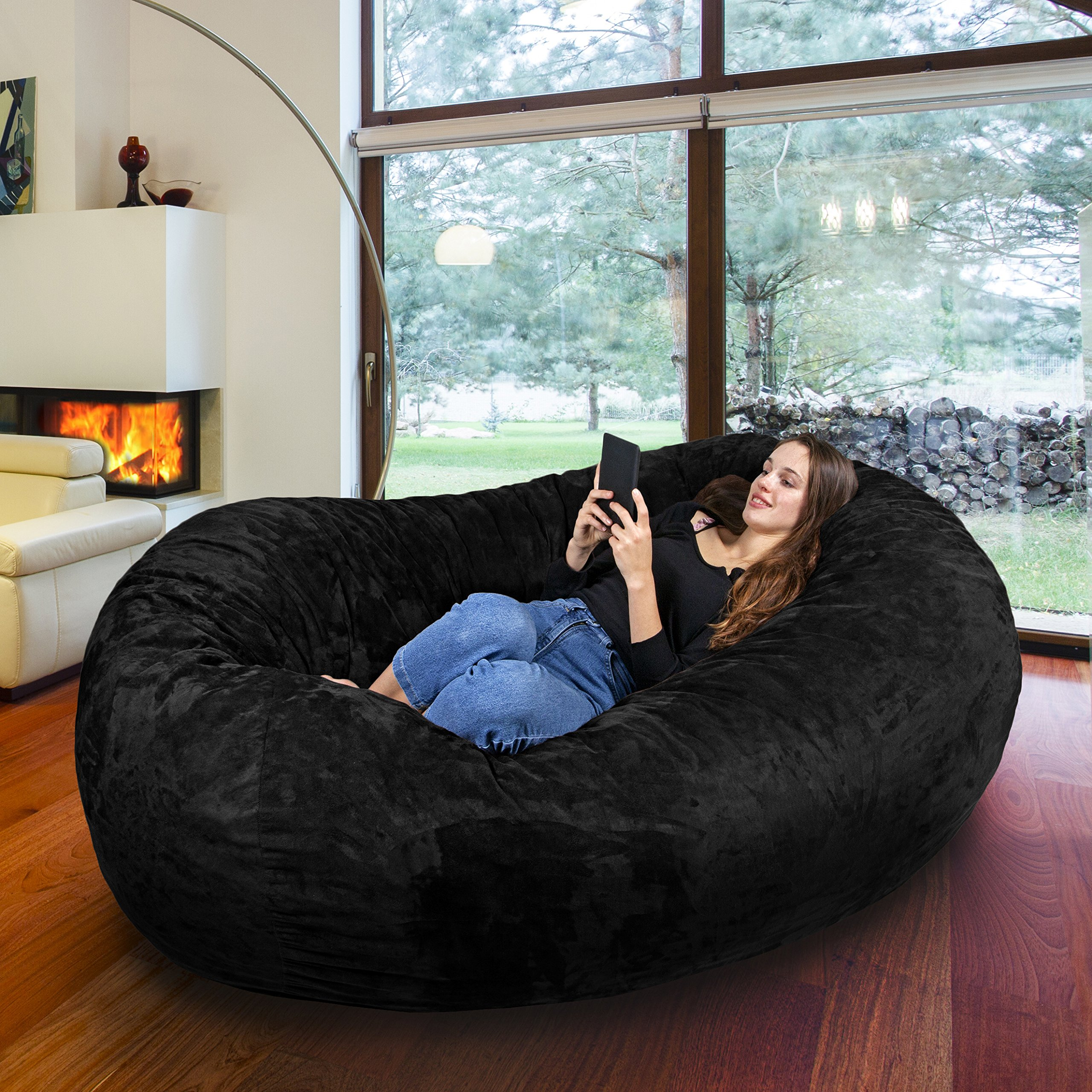 7FT Gigantic Bean Bag Chair in Limo Black with Memory Foam Filling Machine Washable Velour Cover- Comfortable Cozy Lounge Sack to Chill - Huge Bed, Large Sofa, Cozy Lounger - Kids, Adults & Teens by Panda Sleep
