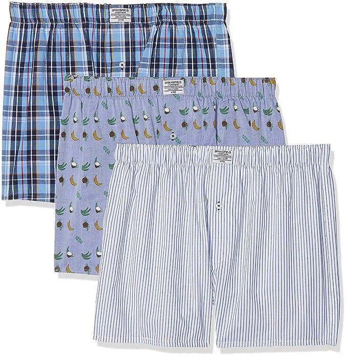 Springfield 1163418 Pack 3 Boxers Cocos y plátanos, Hombre, Azul (Gama azules)
