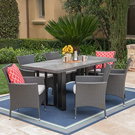 Christopher Knight Home Truda Outdoor 7 Piece Grey Wicker Dining Set with Textured Grey Oak Finish Light Weight Concrete Dining Table and Silver Water Resistant Cushions