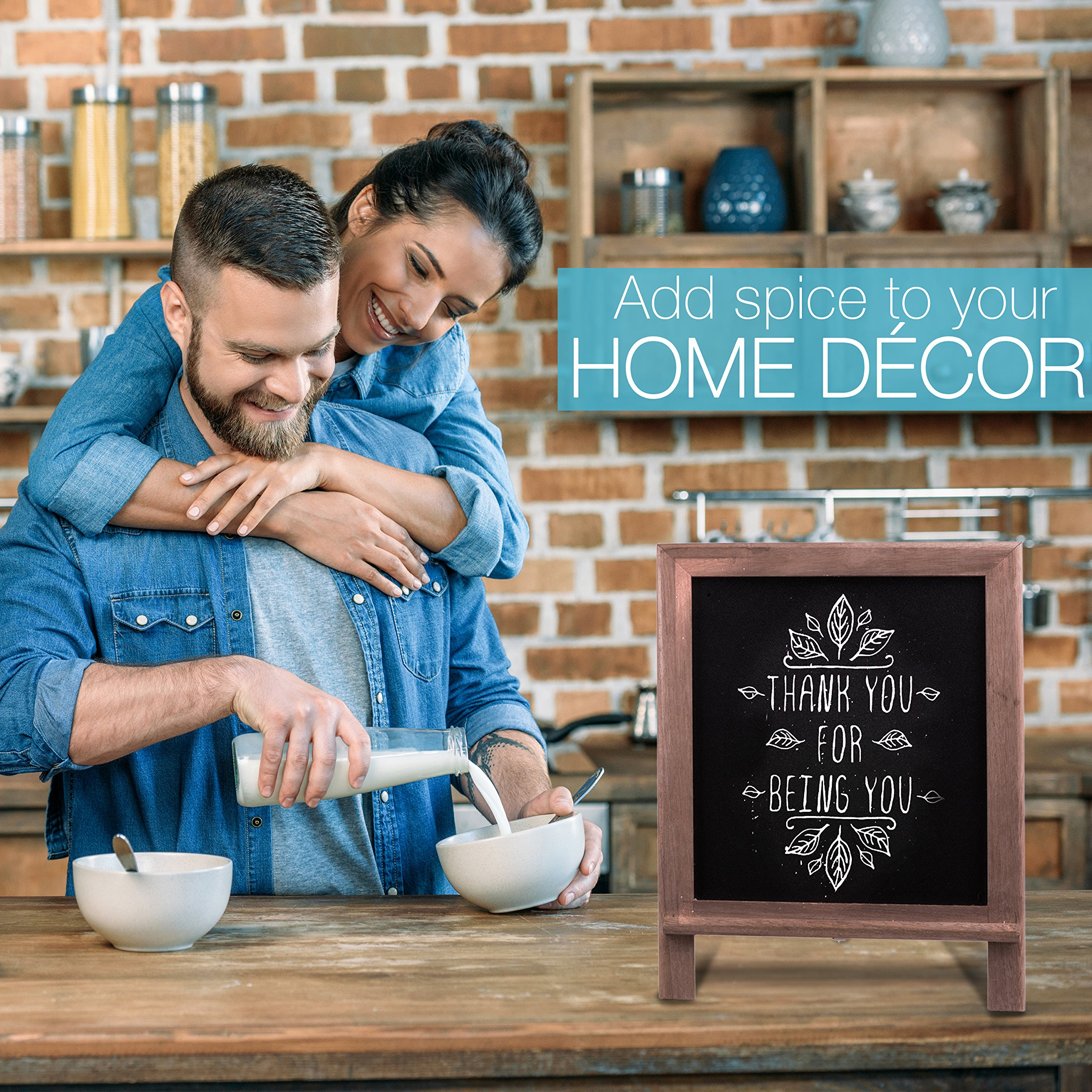 Premium Wood Framed Rustic Standing Chalkboard 12 x 16. Non-Porous Vinyl Surface. For Home, Bars, Restaurants and Weddings - for the Vintage Look! FREE BONUS: 24 chalks + Eraser + Storage Bag by KidisPro (Image #6)