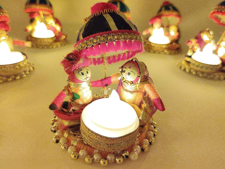 JH Gallery Rajasthani Dolls Umbrella Chatra Tealight Candle Holder/Diwali Diya for Home Decor/Diwali Gift/Diwali Decoration/Corporate Gift for Diwali (1)