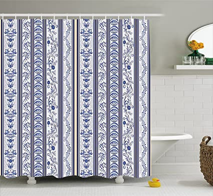 Lunarable Royal Blue Shower Curtain Japanese Turkish Ethnic Inspired Ceramic Pattern With Flowers Design