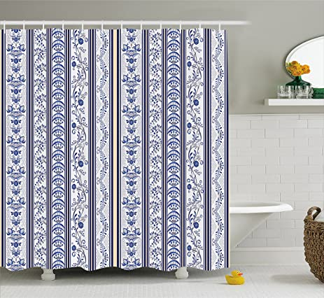 Beau Royal Blue Shower Curtain By Lunarable, Japanese Turkish Ethnic Inspired  Ceramic Pattern With Flowers Design