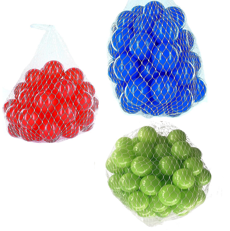 2100 Bälle für Bällebad gemischt mix mit hellgrün, blau und rot