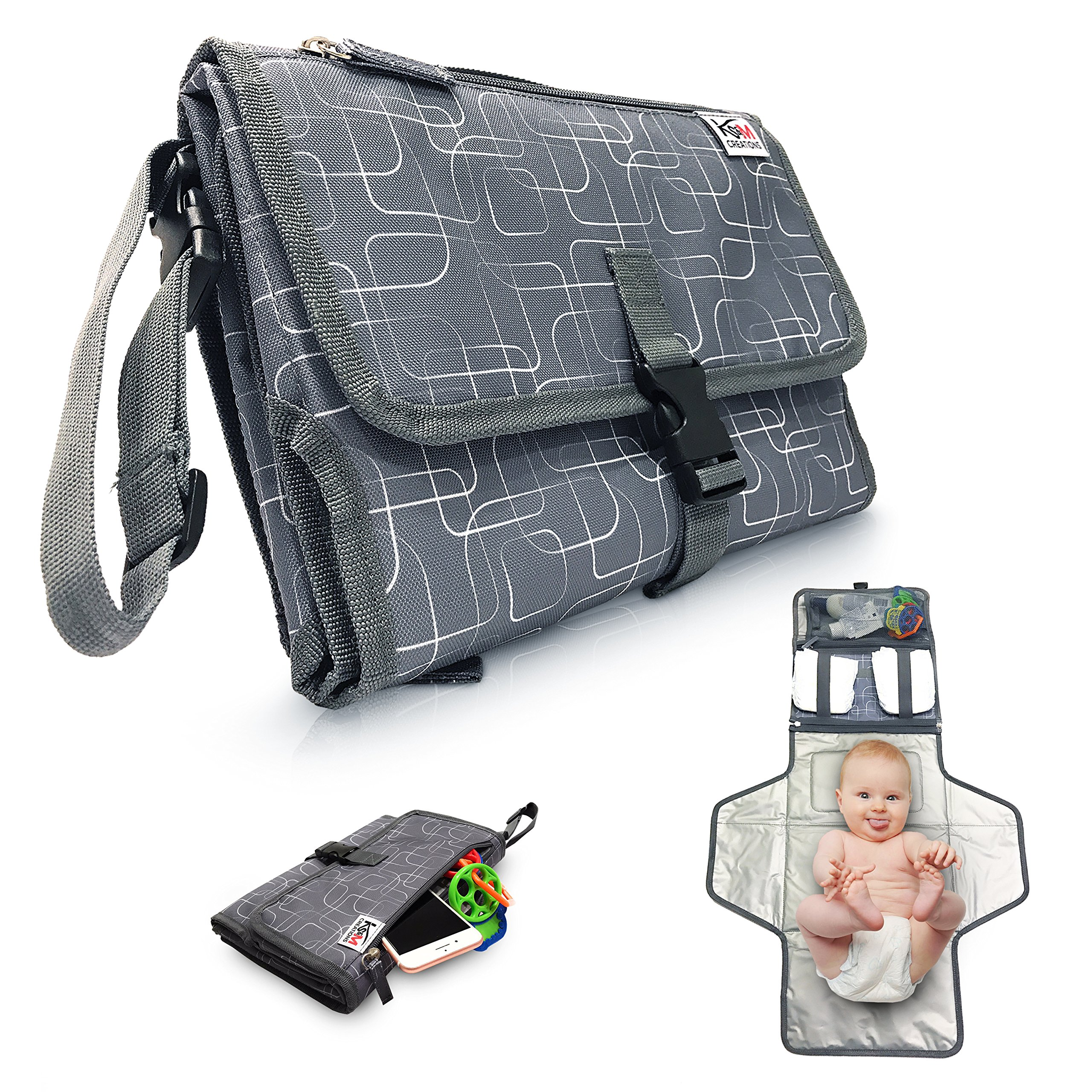 Portable Diaper Changing Pad for Baby to Toddler - Waterproof Cushioned Mat and Built in Head Pillow, 3 Pockets - Wipeable - Lightweight On the Go Diapering Solution - Stylish Unique Design - Grey