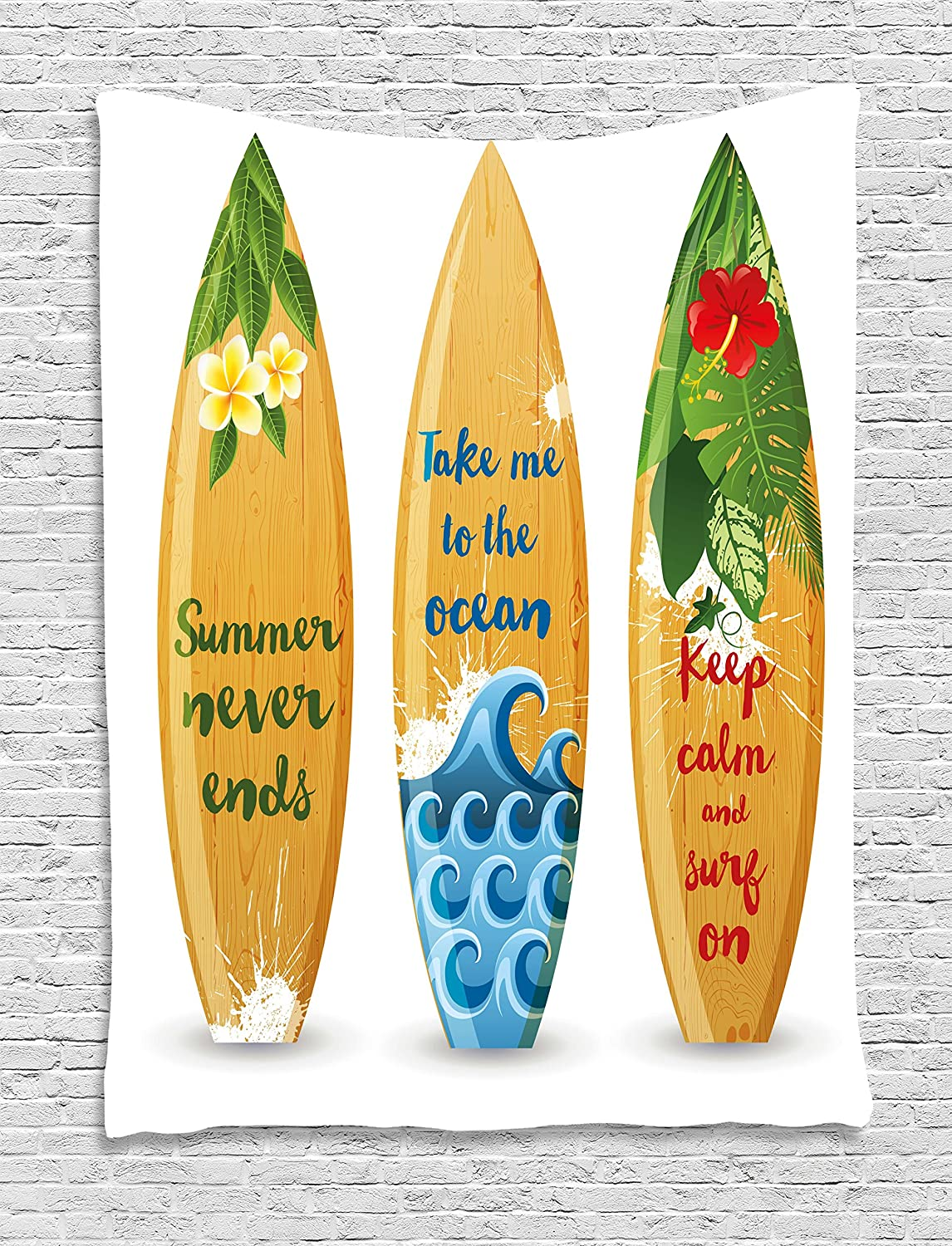 Amazon.com: Lunarable Vintage Hawaii Tapestry, Wooden Surfboards ...