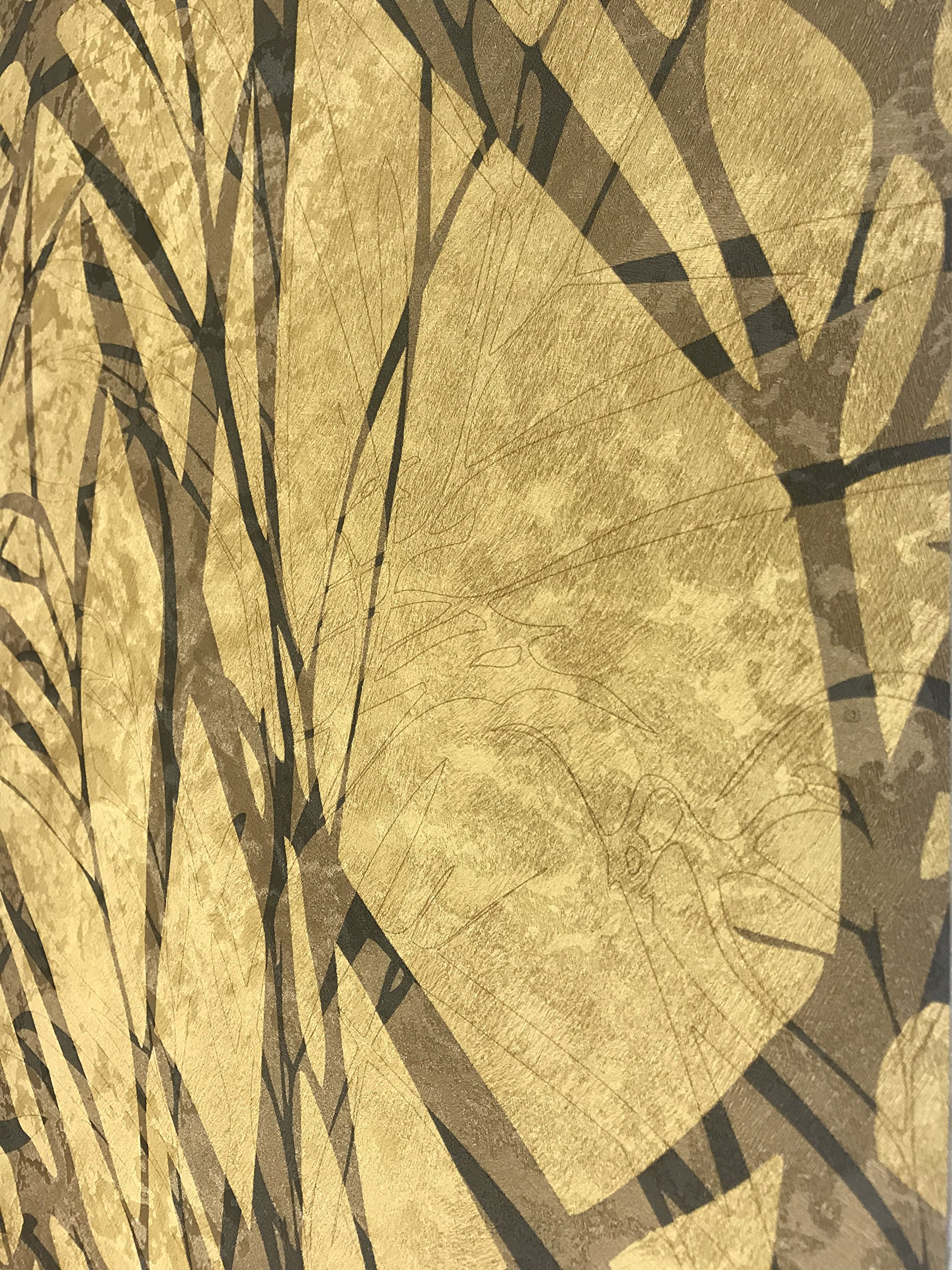76 sq.ft Made in Italy Portofino wallcoverings rolls modern embossed Vinyl Non-Woven Wallpaper gold bronze black metallic wallpapers textured tropical tree leaves design texture 3D paste the wall only