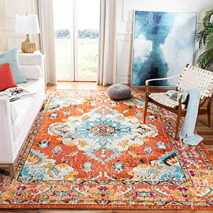Remarkable Safavieh Monaco Collection Mnc243H Vintage Oriental Orange And Light Blue Distressed Square Area Rug 67 Square Frankydiablos Diy Chair Ideas Frankydiabloscom