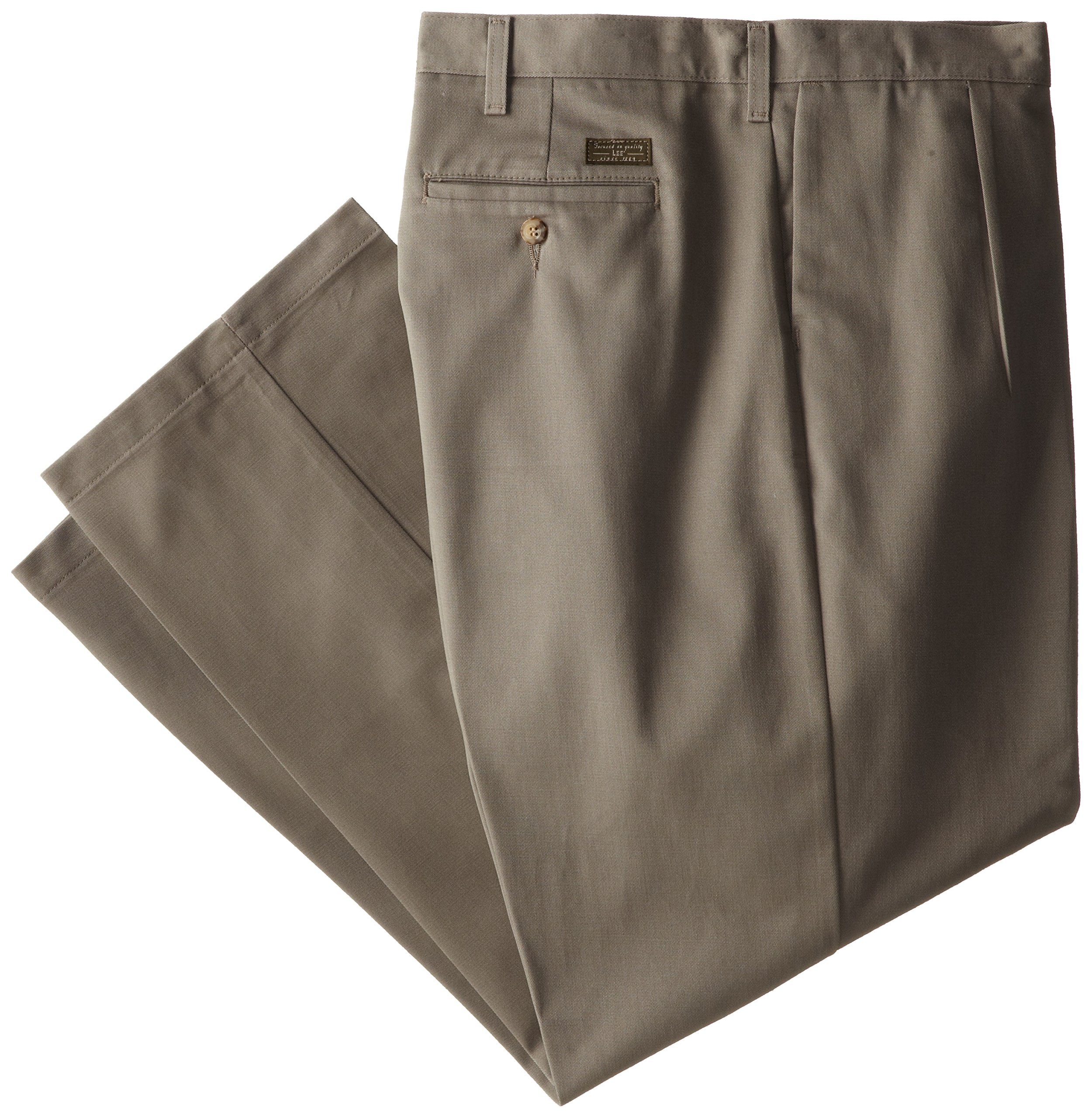 Lee Men's Big-Tall Stain Resistant Relaxed Fit Pleated Pant, Olive, 52W x 32L