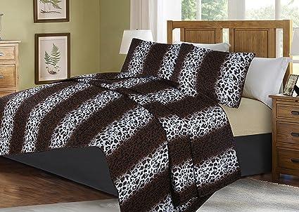 #5  ANIMAL ZEBRA LEOPARD PATTERN QUILT SET BED COVER BEDDING QUILTED BEDSPREAD