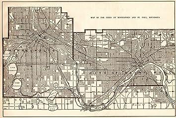 Amazon.com: 1925 Antique Minneapolis & St Paul Map Original Vintage ...