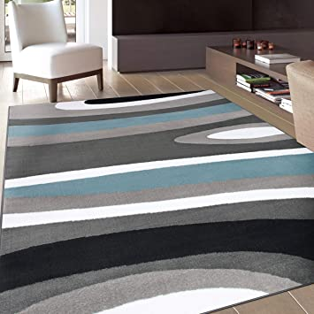 Amazon Com Abstract Contemporary Modern Blue Area Rug 9 X 12 Furniture Decor