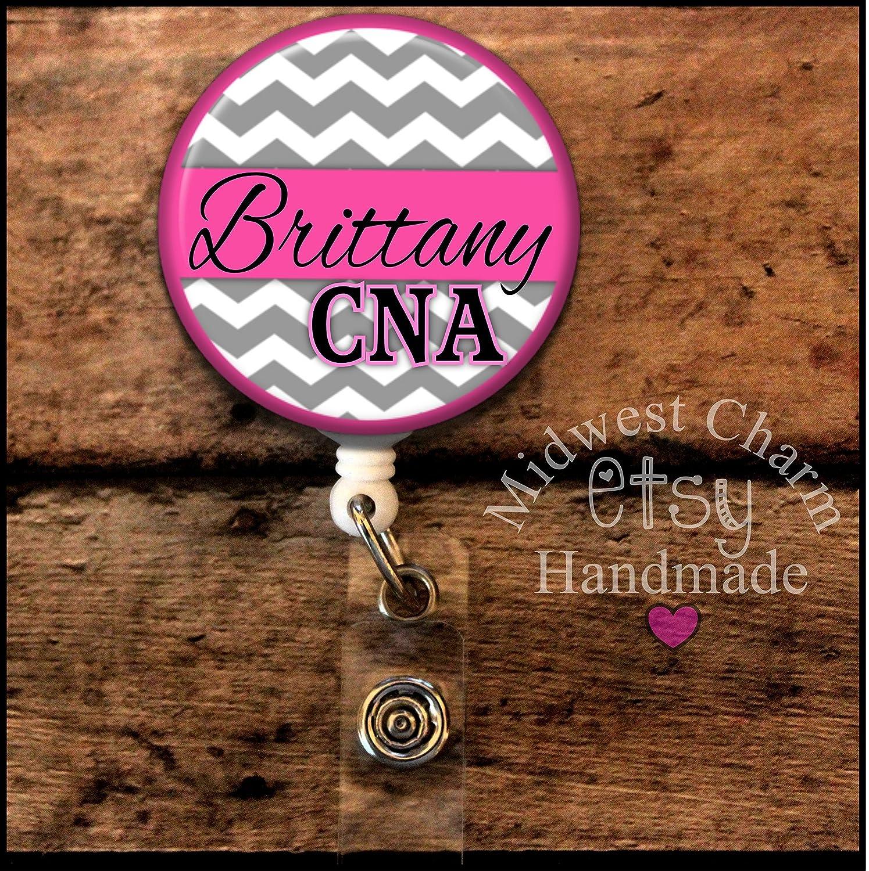 gray chevron with pink..Retractable badge holder, nurse gift, ob, L& D, id holder, reel, RN, LPN, CNA
