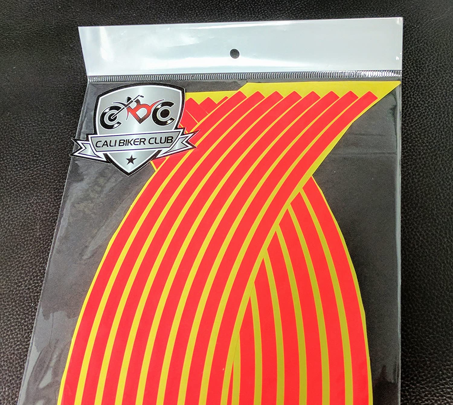 Fluorescent Orange Rim Tape Stickers Wheel Stripes Decals for Motorcycle Wheels 17' (Fits Car 16-18') CaliBikerClub