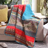 "Luxury Reversible 100% Cotton Paisley Boho Stripe Quilted Throw Blanket 60"" x 50"" Machine Washable and Dryable"