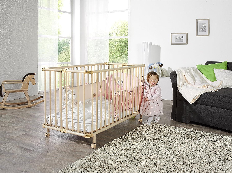 Geuther - Kinderbett Mayla, TÜV geprüft, klappbar, höhenverstellbar, Rollen Rollen Rollen mit Bremse, 60 x 120 cm, weiß 1a1644