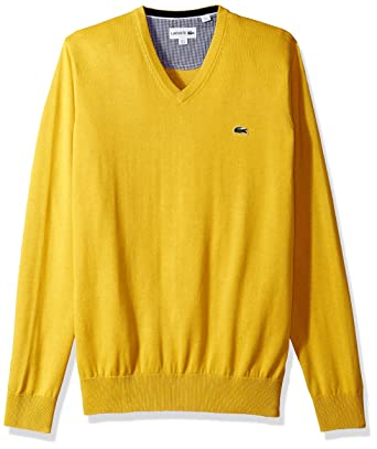 Lacoste Men's V Neck Cotton Jersey Sweater With Green Croc, Calcutta Yellow,  ...