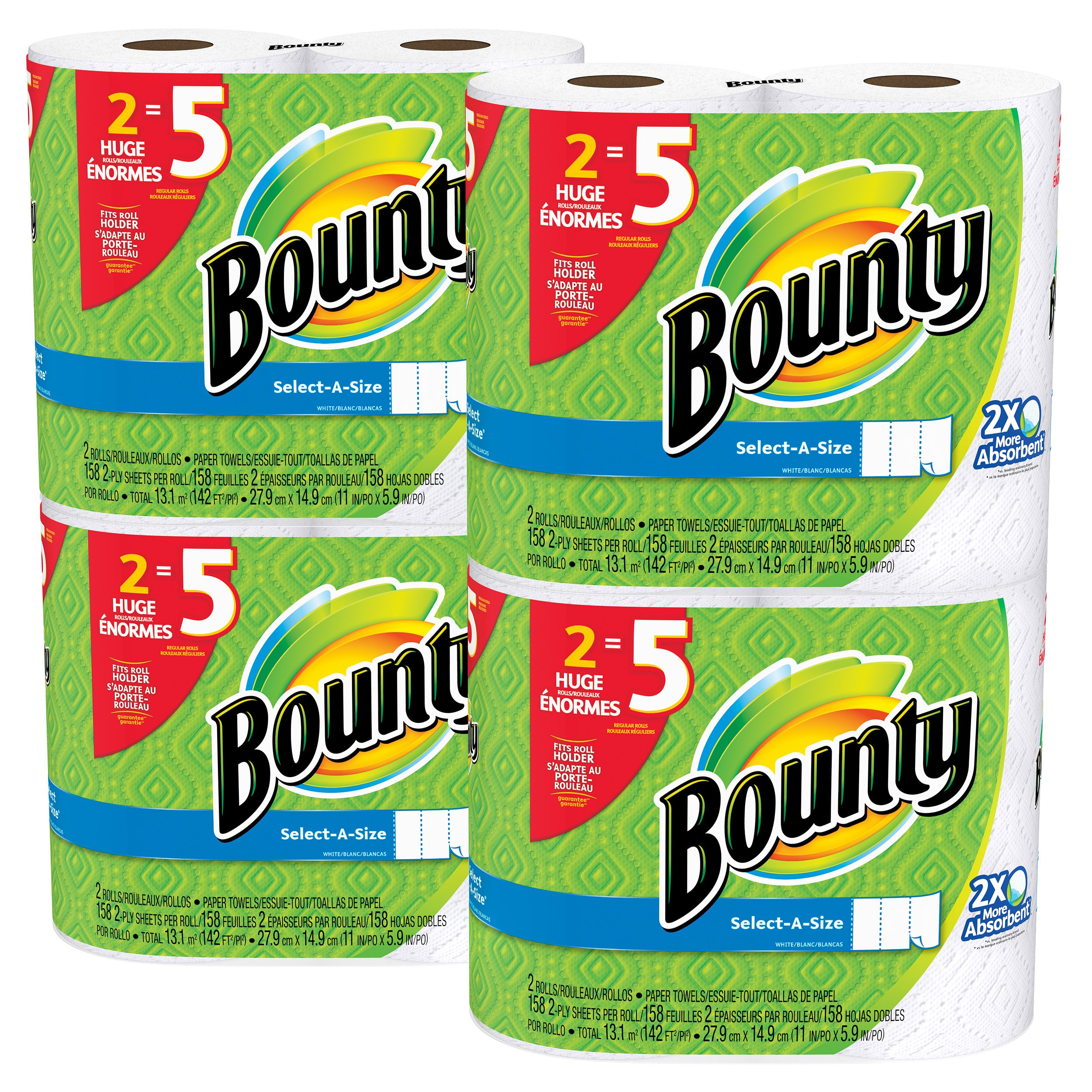 Bounty Select-a-Size Paper Towels, White, Huge Roll