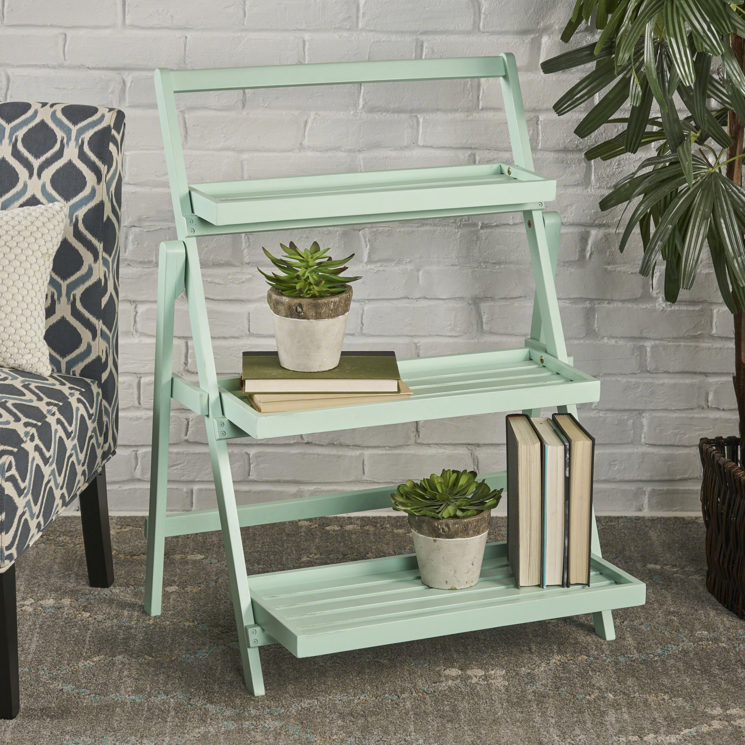 Christopher Knight Home 302583 Cletus Indoor Chic Acacia Wood Plant Stand, Light Mint
