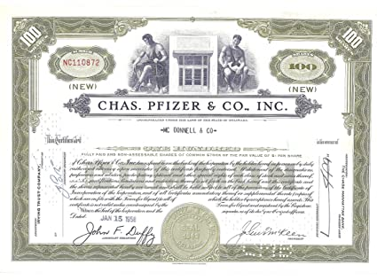 Stock Certificate 1958 Chas, Pfizer & Co., Inc. Vintage