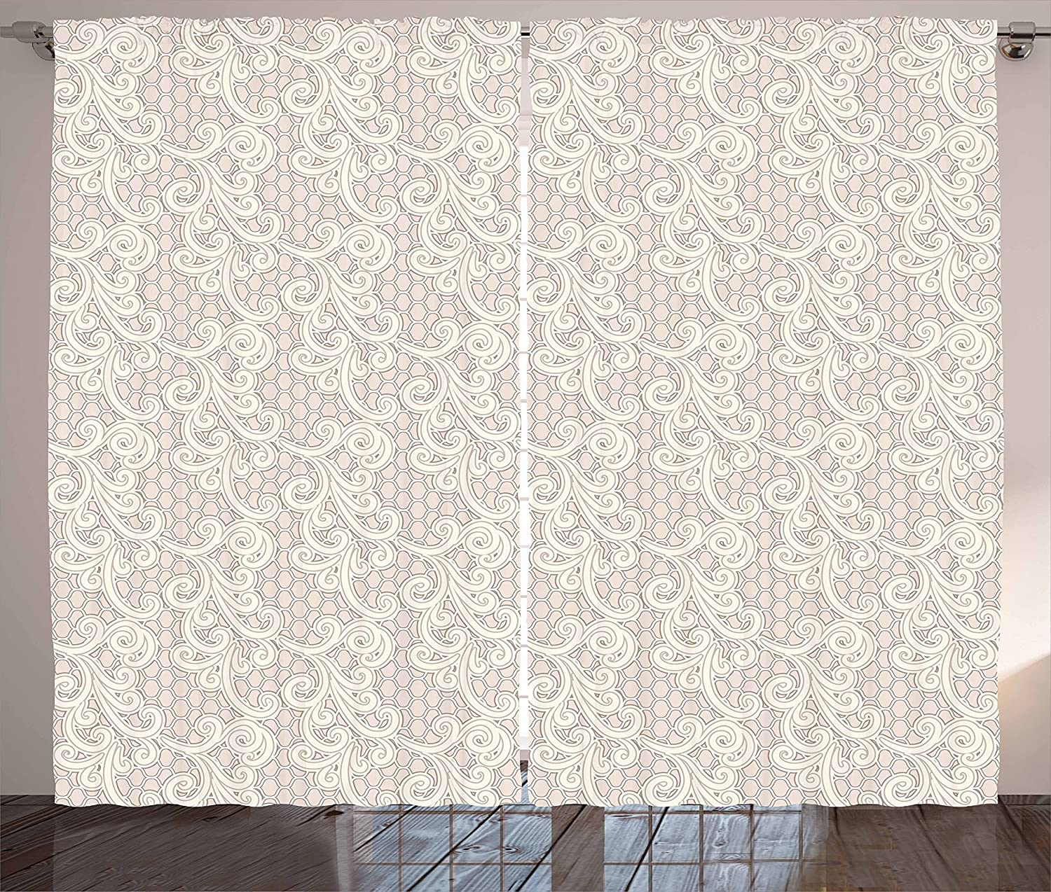 Buy Lunarable Cream Curtains Old Lace Design With Soothing Color Scheme Vintage Style Classical Inspired Image Living Room Bedroom Window Drapes 2 Panel Set 108 X 96 Cream Tan Online At Low