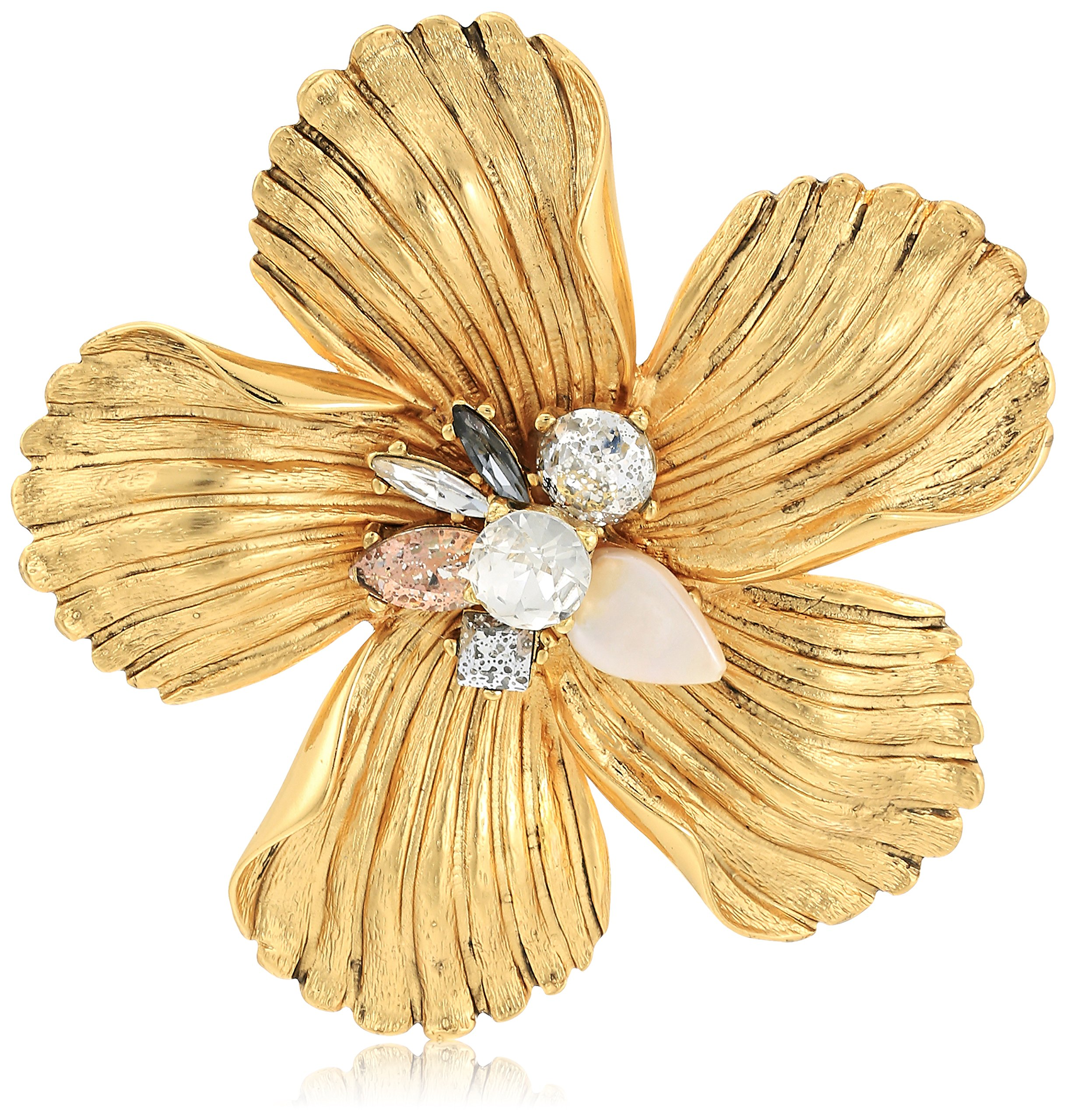 Badgley Mischka Encrusted Flower Brooch and Pin