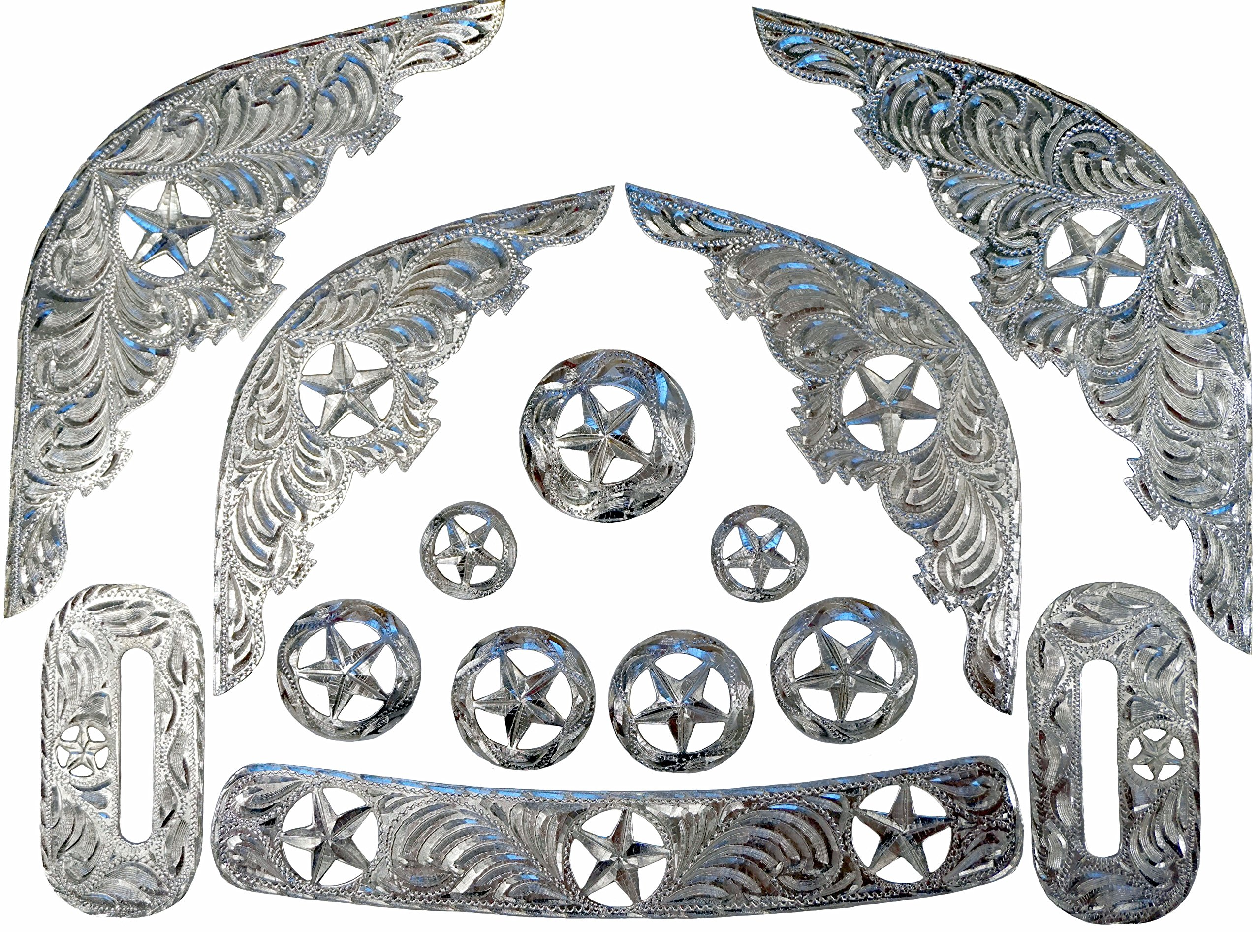 Silver Colored Star Cut-Out Engraved Replacement Saddle Trim Kit 14 Pieces