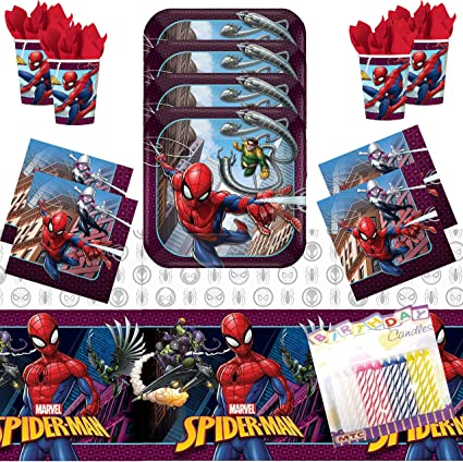 Amazon.com: Spiderman Party Supplies Pack sirve 16: platos ...