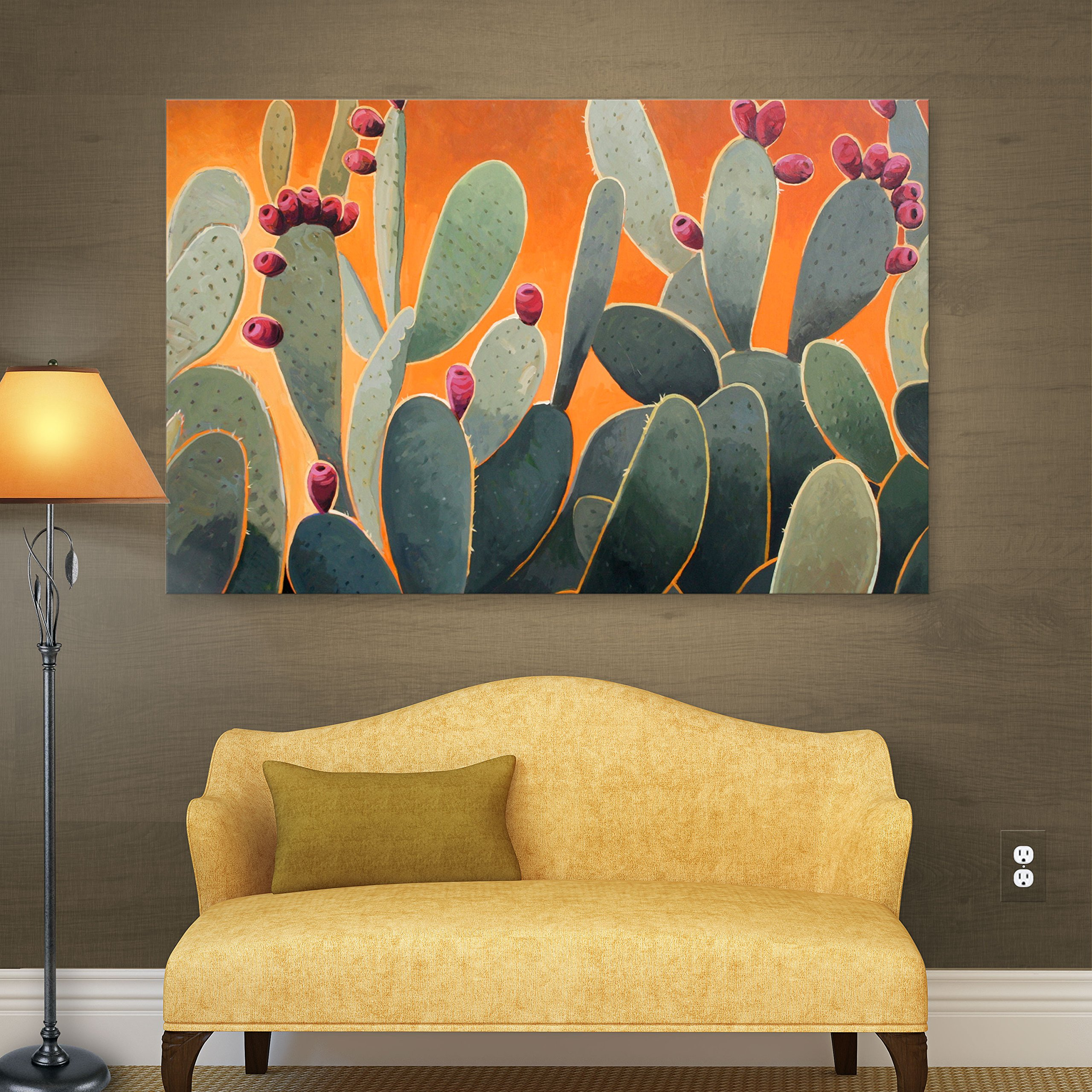 Art Wall Cactus Orange Gallery Wrapped Canvas Art by Rick Kersten, 36 by 48-Inch