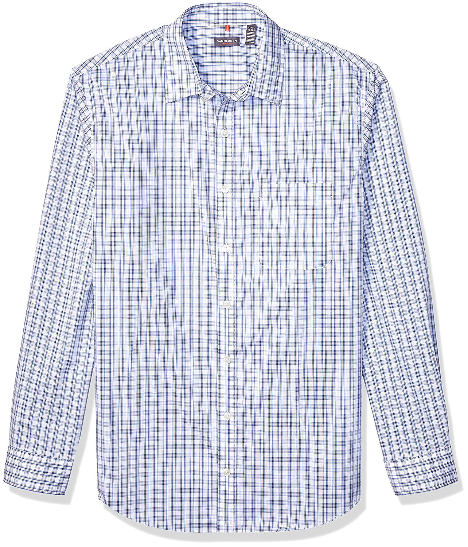 Van Heusen Men's Big and Tall Traveler Stretch Long Sleeve Button Down Blue/White/Purple Shirt