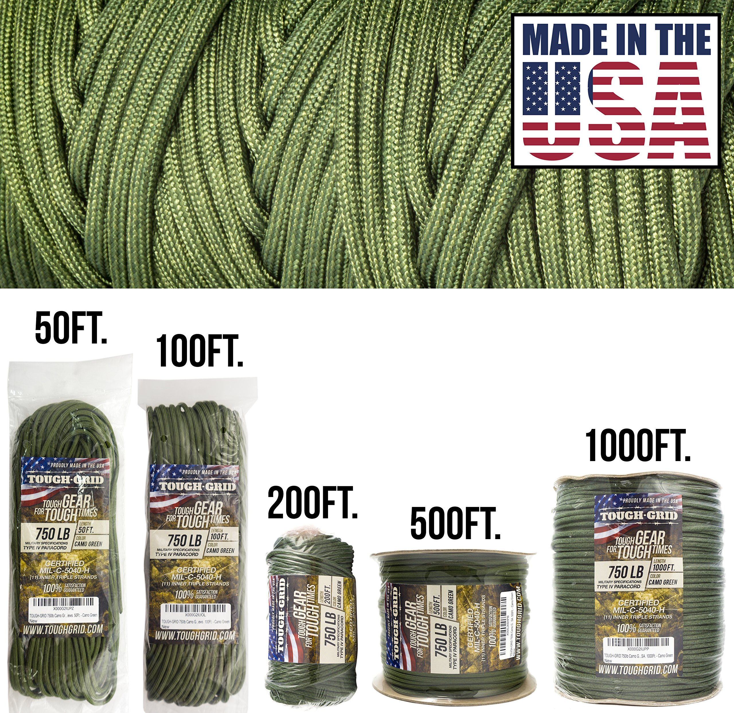 TOUGH-GRID 750lb Camo Green Paracord/Parachute Cord - Genuine Mil Spec Type IV 750lb Paracord Used by The US Military (MIl-C-5040-H) - 100% Nylon - Made in The USA. 500Ft. - Camo Green by TOUGH-GRID