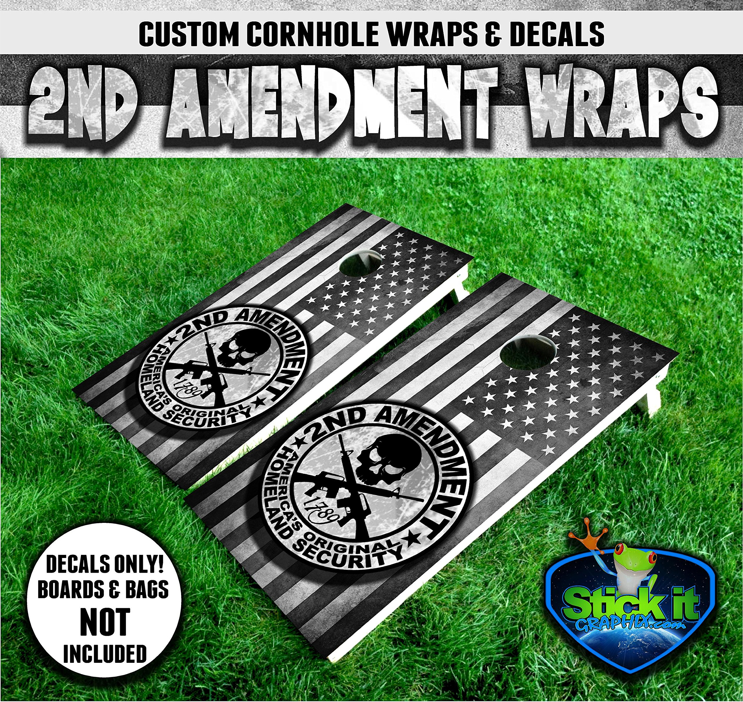 2nd Second Amendment Wrap set! 2x Decals 24'' x 48'' Skull Cross Rifles Black White Grey Scale Grunge US Flag logo graphics for cornhole baggo Bag Toss boards game