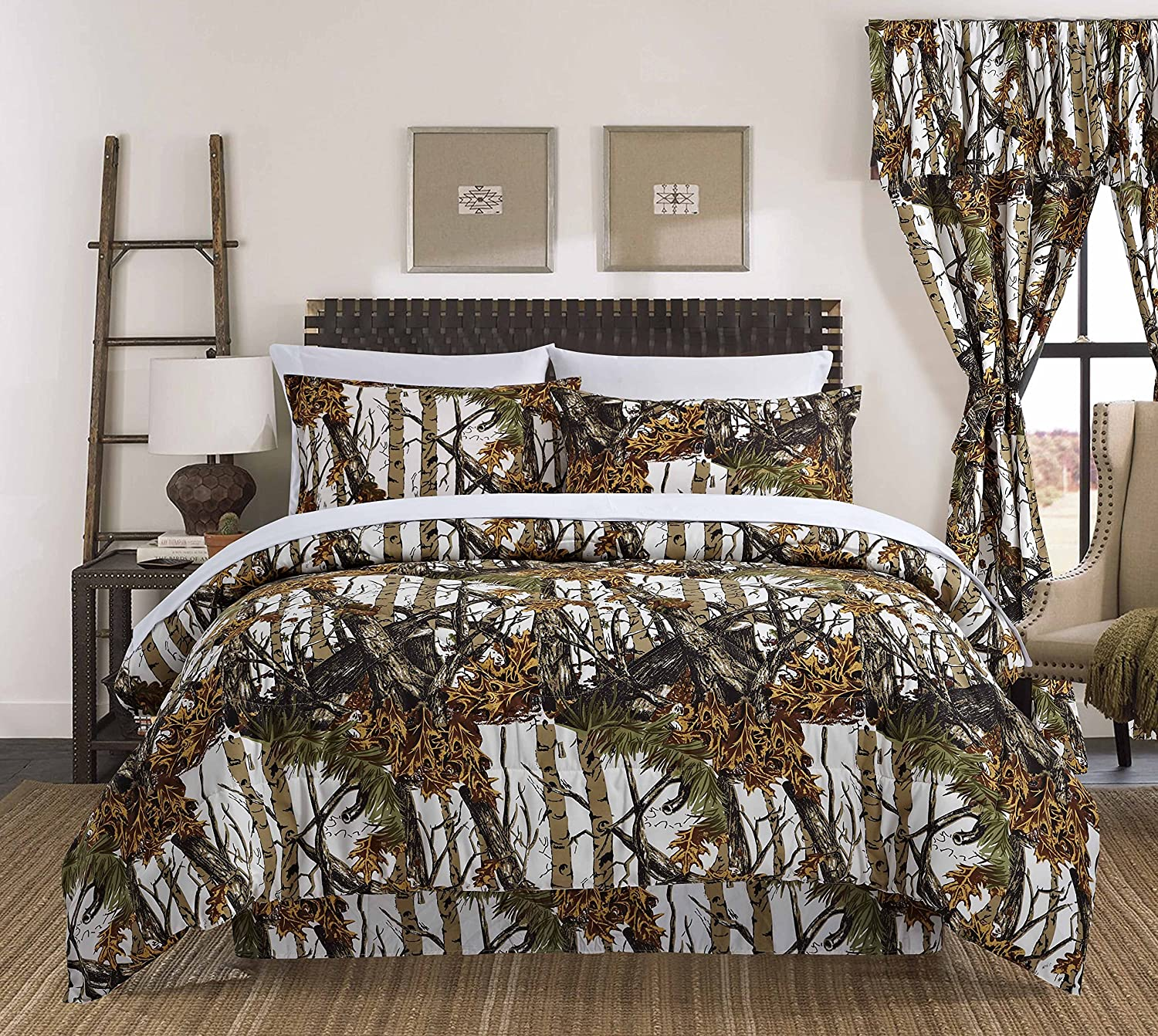 Regal Comfort The Woods White Camouflage Queen 4 Piece