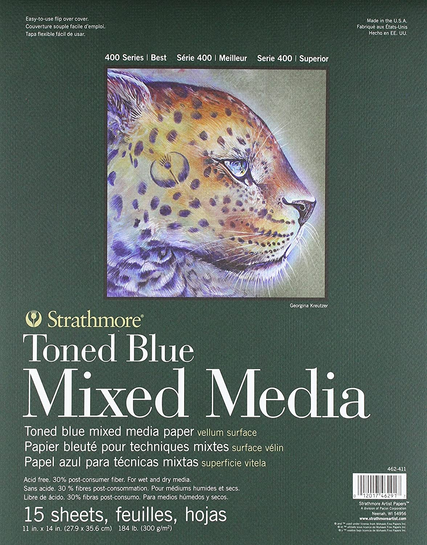 400 Series Toned Blue Mixed Media Pad 11x14 Glue Bound 15 Sheets per Pad