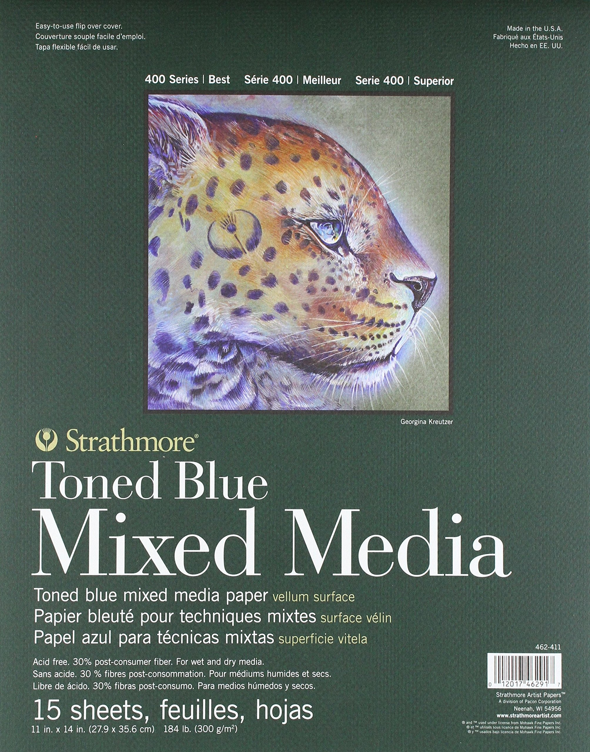 400 Series Toned Blue Mixed Media Pad, 11''x14'' Glue Bound, 15 Sheets per Pad by Strathmore