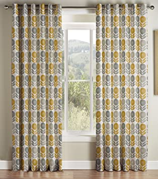 Montgomery Uppsala Mustard Lined Eyelet Headed Curtains 229*137