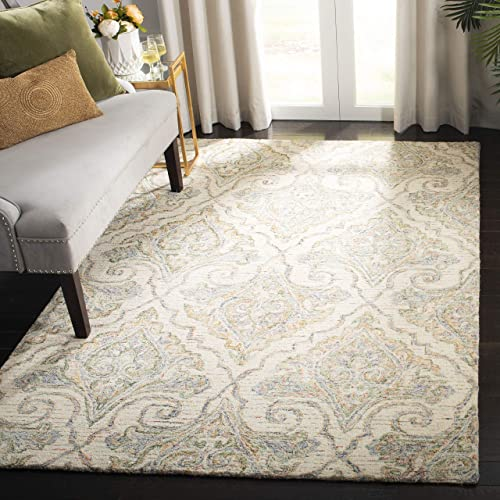 Safavieh Aubusson Collection AUB103A Handmade Wool Area Rug, 8 x 10 , Ivory Green