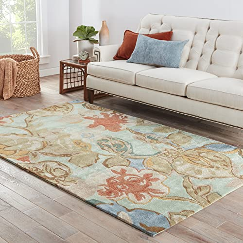 Jaipur Living Petal Pusher Hand-Tufted Floral Leaves Blue Area Rug 9 X 12