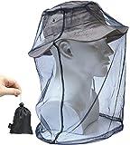 蚊よけ 虫よけ ヘッド ネット 防虫ネット メッシュ カバー モスキート ガード インセクト シールド 携帯 頭部 蚊帳 フェイスガード 収納ポーチ付き