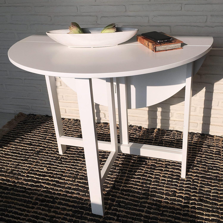 Kitchen Folding Table 96 X 75 Cm 2 Slot White Round Table Amazon De Kuche Haushalt