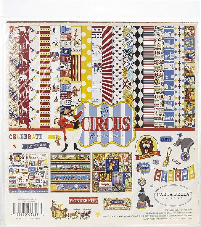 Carta Bella Collection COLECCIÓN Circus 12X12 Kit, Rojo, Naranja, Crema, Amarillo, Negro, Talla única: Amazon.es: Hogar