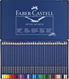 Faber-Castell 114236 - Estuche de metal con 36 ecolápices triangulares acuarelables Art Grip, lápices para adultos