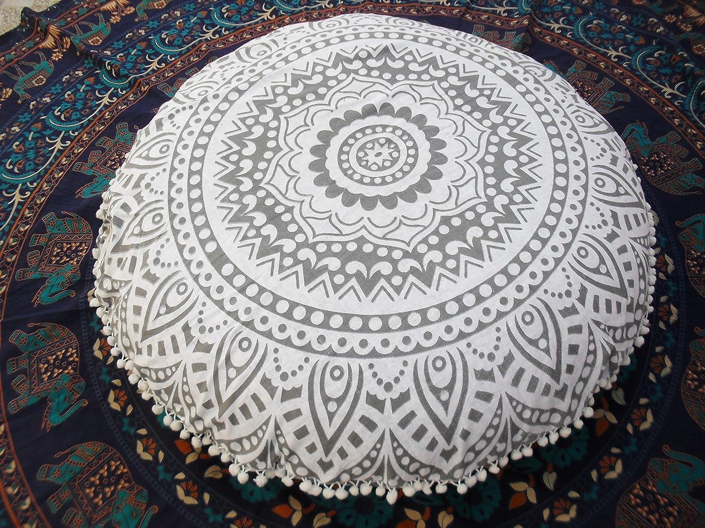 Traditional Jaipur Silver Ombre Coussin de sol en mandala, Grand coussin décoratif 32 , Pouf rond, Oreiller Boho, Housse de coussin indienne (Taie d'oreiller)