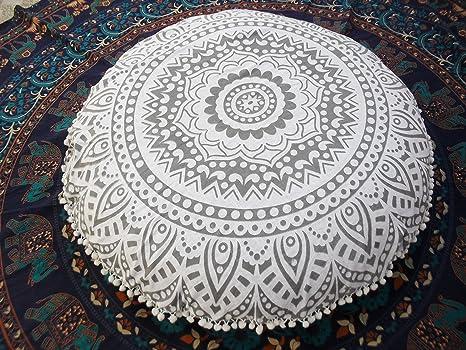 Tradicional Jaipur plata Ombre Mandala cojín de suelo ...