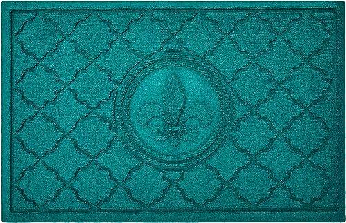 AquaShield Bombay Fleur De Lis Mat, 2 x 3 , Aquamarine