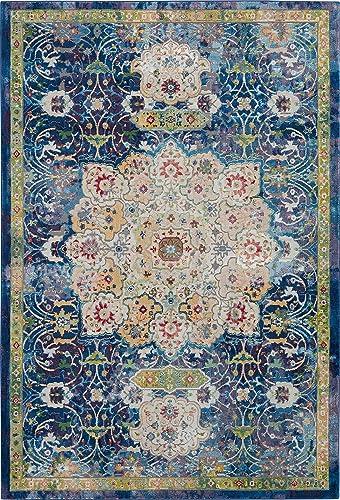 Nourison Global Vintage Blue Multicolor Oushak Area Rug 5'3″ x 7'6″