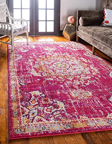 Unique Loom Penrose Collection Traditional Vintage Distressed Magenta Area Rug 5 3 x 7 7