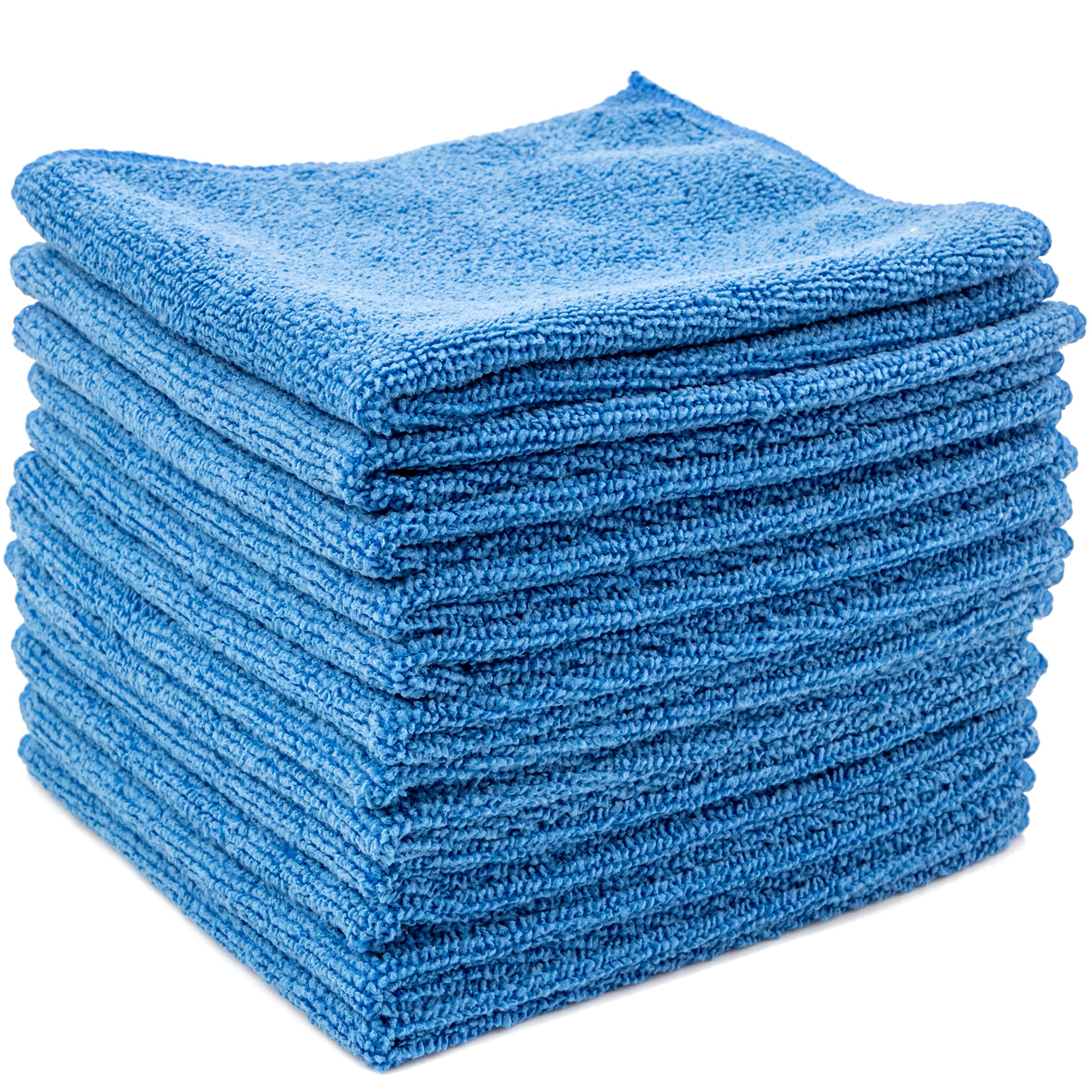 Dry Rite Best Magic Microfiber Cloth - Professional Series Cleaning Towels for Fine Auto Finishes, Interior, Chrome, Kitchen, Bath, TV, Glass- Non Scratching, Streak Free, Use Wet or Dry - 12'' x 12''
