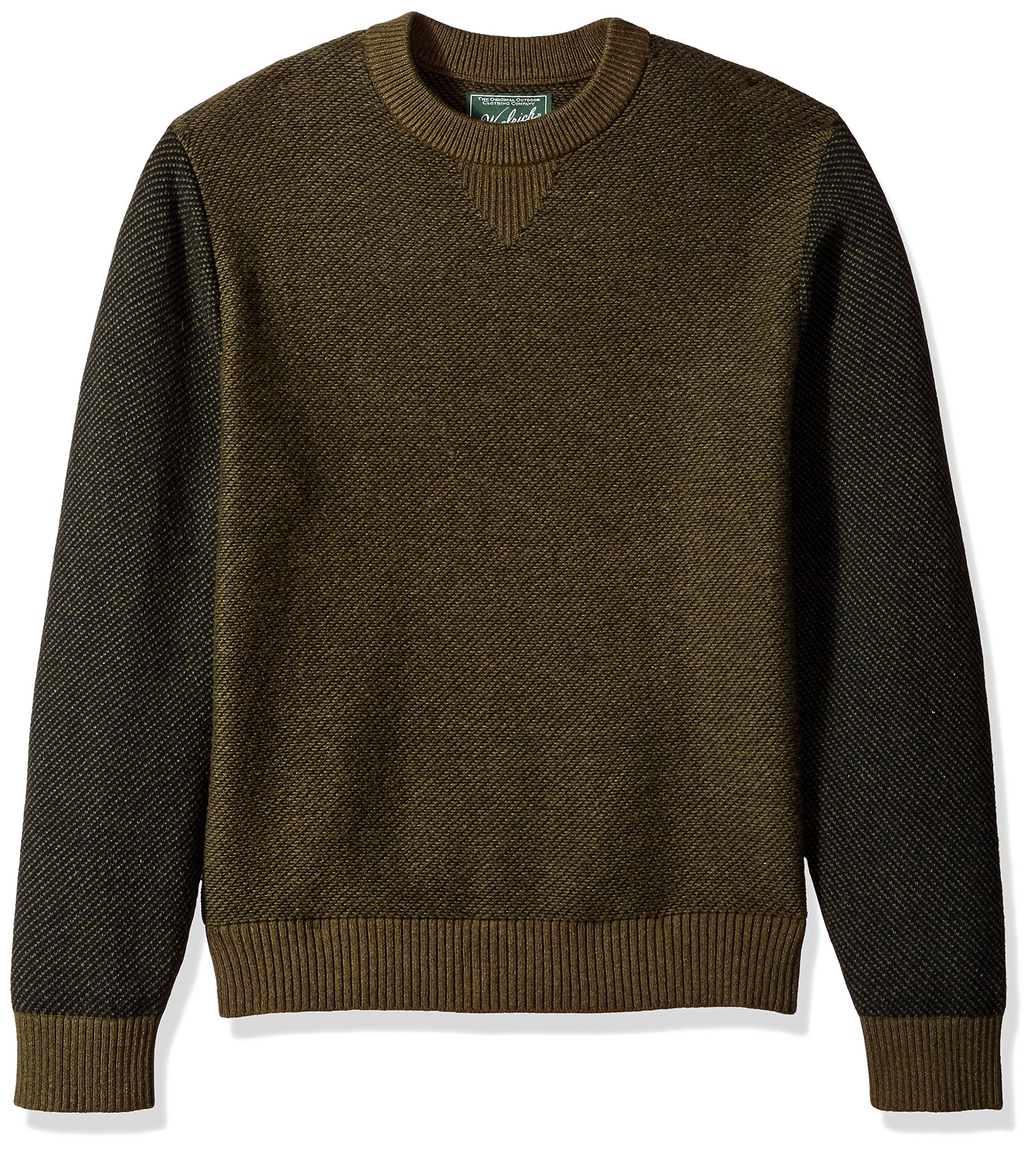 Woolrich Men's Twill Colorblock Merino Sweater, Olive, Large