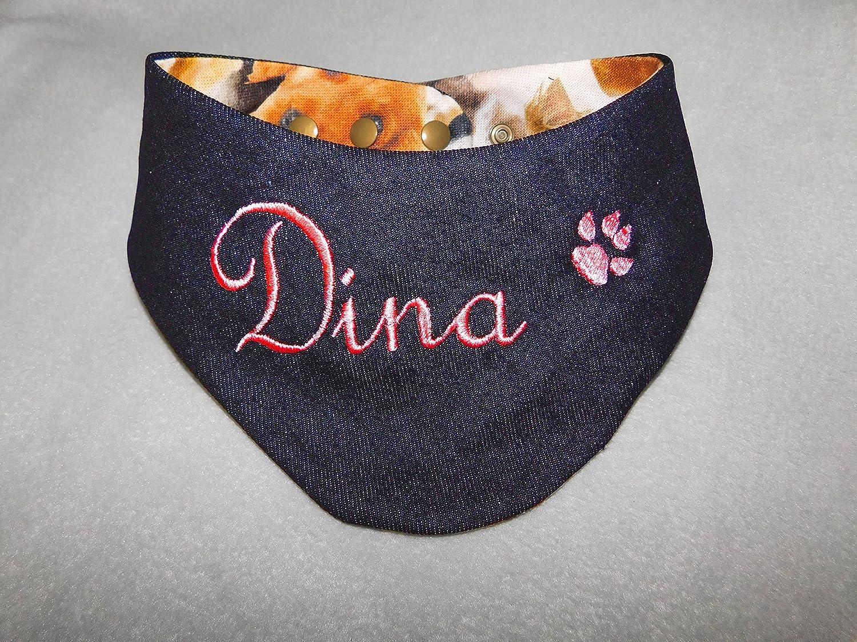 LunaChild Hundehalstuch dunkelblau Jeans Größe XL WUNSCHNAME Wendetuch Halstuch Hund Tuch Name Hundehalstuch